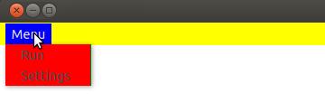 Użyte w przykładzie menu w Qt z kolorowym CSS