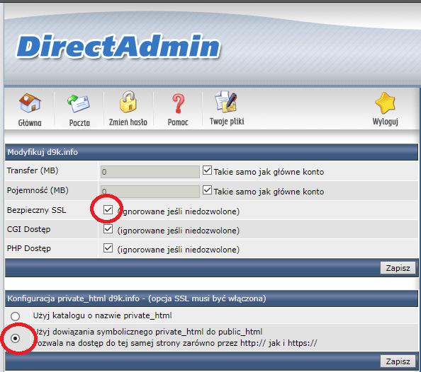 Direct Admin - ustawienia domeny